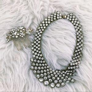 BANANA REPUBLIC: statement necklace & hair brooch